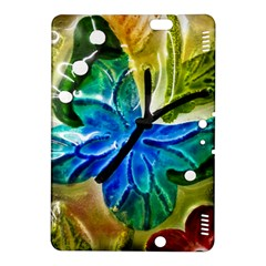 Blue Spotted Butterfly Art In Glass With White Spots Kindle Fire Hdx 8 9  Hardshell Case