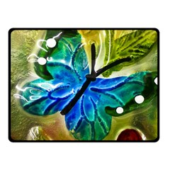 Blue Spotted Butterfly Art In Glass With White Spots Double Sided Fleece Blanket (Small)