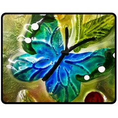 Blue Spotted Butterfly Art In Glass With White Spots Double Sided Fleece Blanket (medium)