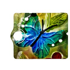 Blue Spotted Butterfly Art In Glass With White Spots Kindle Fire HDX 8.9  Flip 360 Case