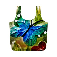 Blue Spotted Butterfly Art In Glass With White Spots Full Print Recycle Bags (M)