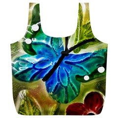 Blue Spotted Butterfly Art In Glass With White Spots Full Print Recycle Bags (L)