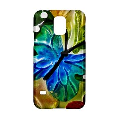 Blue Spotted Butterfly Art In Glass With White Spots Samsung Galaxy S5 Hardshell Case