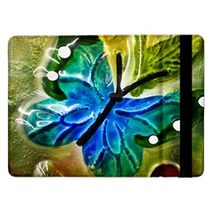Blue Spotted Butterfly Art In Glass With White Spots Samsung Galaxy Tab Pro 12 2  Flip Case