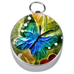 Blue Spotted Butterfly Art In Glass With White Spots Silver Compasses