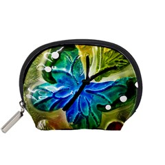 Blue Spotted Butterfly Art In Glass With White Spots Accessory Pouches (small)