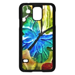 Blue Spotted Butterfly Art In Glass With White Spots Samsung Galaxy S5 Case (black)