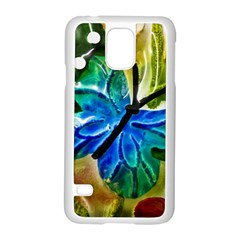 Blue Spotted Butterfly Art In Glass With White Spots Samsung Galaxy S5 Case (white)