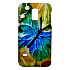 Blue Spotted Butterfly Art In Glass With White Spots Galaxy S5 Mini