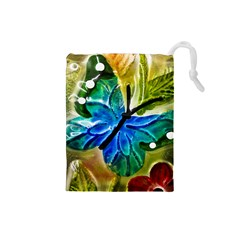 Blue Spotted Butterfly Art In Glass With White Spots Drawstring Pouches (Small)