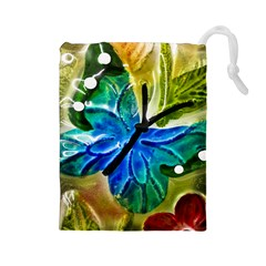 Blue Spotted Butterfly Art In Glass With White Spots Drawstring Pouches (Large)
