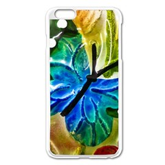 Blue Spotted Butterfly Art In Glass With White Spots Apple iPhone 6 Plus/6S Plus Enamel White Case