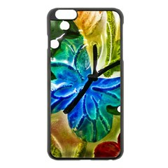 Blue Spotted Butterfly Art In Glass With White Spots Apple Iphone 6 Plus/6s Plus Black Enamel Case