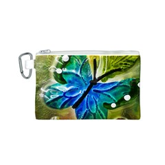 Blue Spotted Butterfly Art In Glass With White Spots Canvas Cosmetic Bag (s)