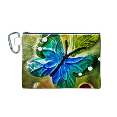 Blue Spotted Butterfly Art In Glass With White Spots Canvas Cosmetic Bag (m)