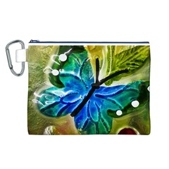 Blue Spotted Butterfly Art In Glass With White Spots Canvas Cosmetic Bag (l)