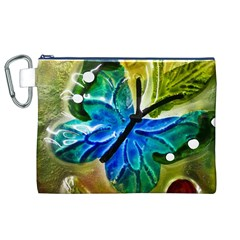 Blue Spotted Butterfly Art In Glass With White Spots Canvas Cosmetic Bag (XL)