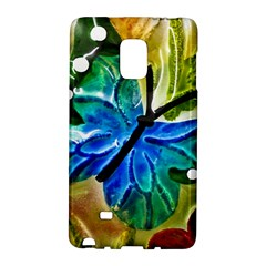 Blue Spotted Butterfly Art In Glass With White Spots Galaxy Note Edge