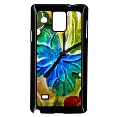 Blue Spotted Butterfly Art In Glass With White Spots Samsung Galaxy Note 4 Case (Black)
