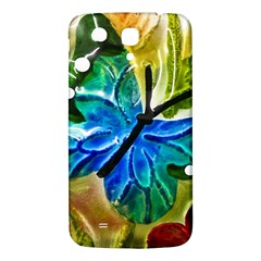 Blue Spotted Butterfly Art In Glass With White Spots Samsung Galaxy Mega I9200 Hardshell Back Case