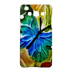 Blue Spotted Butterfly Art In Glass With White Spots Samsung Galaxy A5 Hardshell Case
