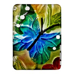 Blue Spotted Butterfly Art In Glass With White Spots Samsung Galaxy Tab 4 (10.1 ) Hardshell Case