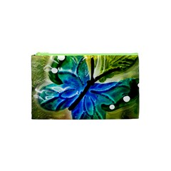Blue Spotted Butterfly Art In Glass With White Spots Cosmetic Bag (xs)