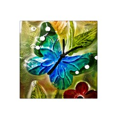 Blue Spotted Butterfly Art In Glass With White Spots Satin Bandana Scarf