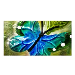 Blue Spotted Butterfly Art In Glass With White Spots Satin Shawl