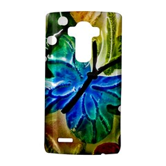 Blue Spotted Butterfly Art In Glass With White Spots Lg G4 Hardshell Case