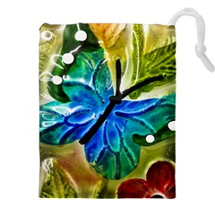 Blue Spotted Butterfly Art In Glass With White Spots Drawstring Pouches (XXL)