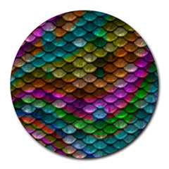Fish Scales Pattern Background In Rainbow Colors Wallpaper Round Mousepads