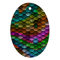 Fish Scales Pattern Background In Rainbow Colors Wallpaper Ornament (oval)
