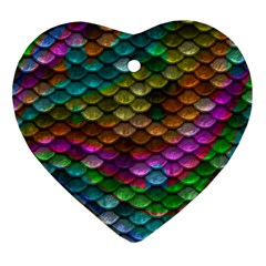 Fish Scales Pattern Background In Rainbow Colors Wallpaper Ornament (Heart)