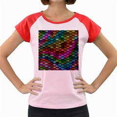 Fish Scales Pattern Background In Rainbow Colors Wallpaper Women s Cap Sleeve T Shirt