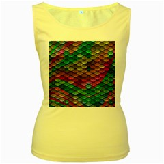 Fish Scales Pattern Background In Rainbow Colors Wallpaper Women s Yellow Tank Top