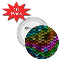 Fish Scales Pattern Background In Rainbow Colors Wallpaper 1 75  Buttons (10 Pack)