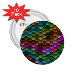 Fish Scales Pattern Background In Rainbow Colors Wallpaper 2.25  Buttons (10 pack)