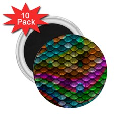 Fish Scales Pattern Background In Rainbow Colors Wallpaper 2.25  Magnets (10 pack)