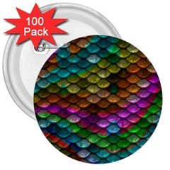 Fish Scales Pattern Background In Rainbow Colors Wallpaper 3  Buttons (100 pack)