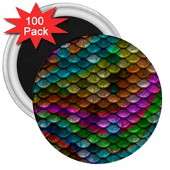 Fish Scales Pattern Background In Rainbow Colors Wallpaper 3  Magnets (100 pack)