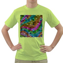 Fish Scales Pattern Background In Rainbow Colors Wallpaper Green T Shirt