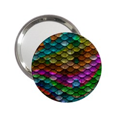 Fish Scales Pattern Background In Rainbow Colors Wallpaper 2 25  Handbag Mirrors