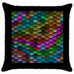 Fish Scales Pattern Background In Rainbow Colors Wallpaper Throw Pillow Case (black)