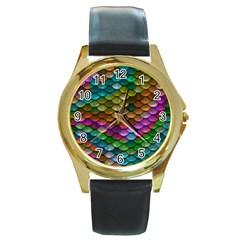 Fish Scales Pattern Background In Rainbow Colors Wallpaper Round Gold Metal Watch
