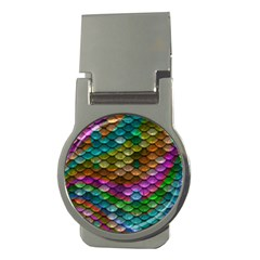 Fish Scales Pattern Background In Rainbow Colors Wallpaper Money Clips (Round)