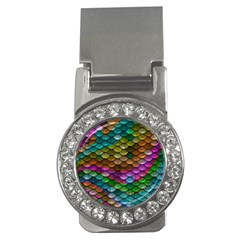 Fish Scales Pattern Background In Rainbow Colors Wallpaper Money Clips (CZ)
