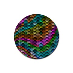 Fish Scales Pattern Background In Rainbow Colors Wallpaper Rubber Coaster (round)