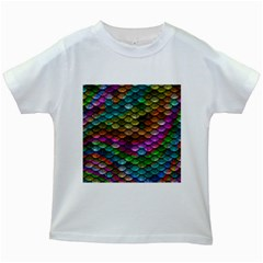 Fish Scales Pattern Background In Rainbow Colors Wallpaper Kids White T-Shirts