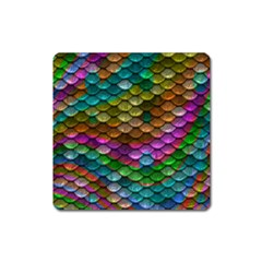 Fish Scales Pattern Background In Rainbow Colors Wallpaper Square Magnet